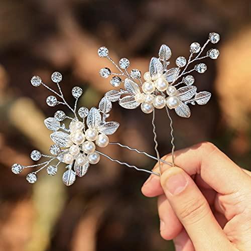 Zoestar Horquillas para el pelo de novia de boda con perlas de cristal, accesorios para el cabello para mujeres y niñas (paquete de 2) (plata)