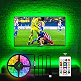 Hamlite TV LED Backlight for 75 Inch TV, 18ft USB LED Strip Lights with RF Remote Covers 4/4 Side of 70 75 80 82 Inch TVs Without Gap, 20 Colors Changing Bias Lighting Behind TV, TV Stand, Soundbar