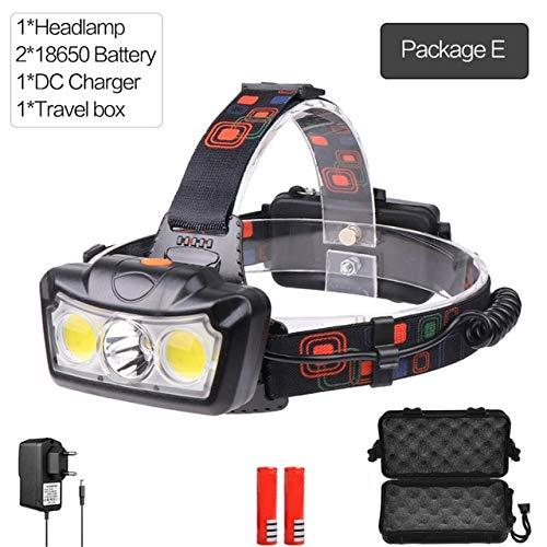 Lampe frontale LED T6 COB puissante Phare lumineux puissant Lampe frontale étanche Lampe frontale réglable avec batterie 18650 rechargeable Pacakge E