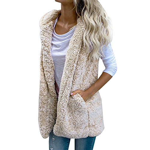 Damen Weste Warm Hoodie Outwear Mantel Kunstpelz Jacke Frauen Fleece Warme Revers Biker Motor Faux Wildleder Pelz Manteljacke Parka Pelzkragen Jacken Vest Pelzmantel Fellweste(Beige,L)