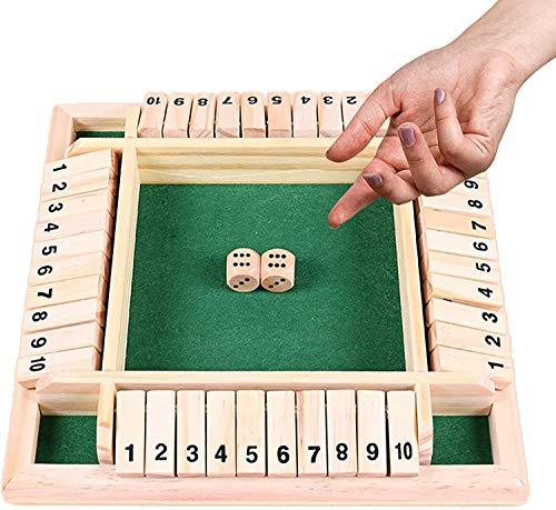 Holz Brettspiel,Klassisch Würfelspiel Board Spielzeug,Shut The Box,Familien-Mathe-Spiel für Kinder,Holz Tisch Spiel,Holz Tisch Spiel Klassisch (Grün)