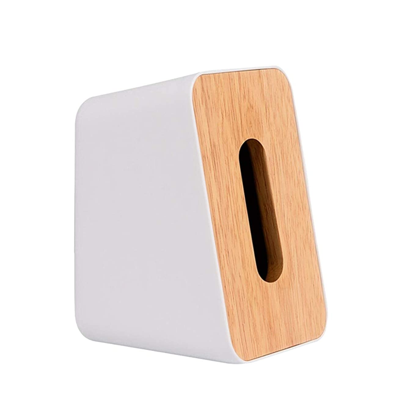 廃棄欲望人に関する限り[ワズチヨ] コンパクト 蓋付き ティッシュケース ティッシュボックス 縦にも横にも置ける おしゃれ インテリア 自立 ホワイト (白)