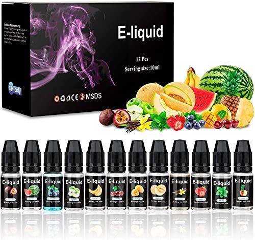 E-Líquido, Nuevos Sabores 12 X 10mL E Liquido Vaper Sin Nicotina, E-Liquid VG50/PG50, Set E-Líquido Para Cigarrillos Electrónicos/E Shisha/E Hookah