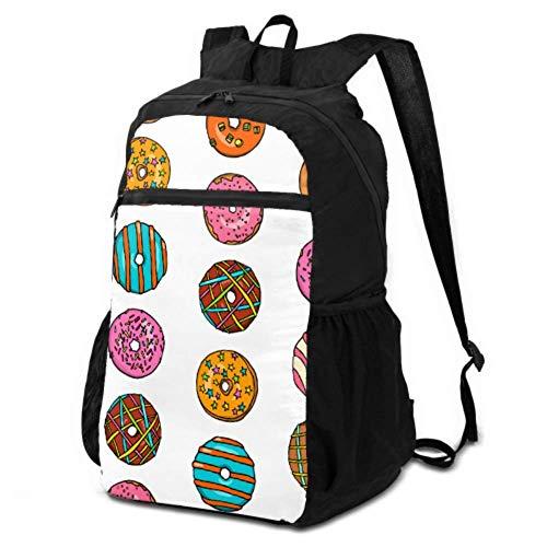Damen-Wandertaschen, niedlich und süß von bunten Donuts, Wandern, wasserdichte Taschen, Tagesrucksäcke zum Wandern, leicht, wasserdicht, für Damen und Herren