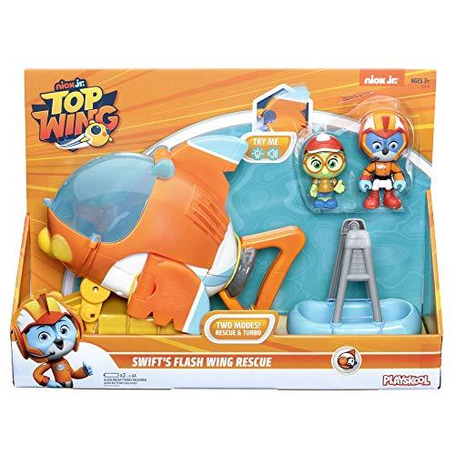 TOP WING – Caja Figura Swift y su vehículo Flash Bolide de Salvamento electrónico – Figura 7 cm – Juguete Infantil