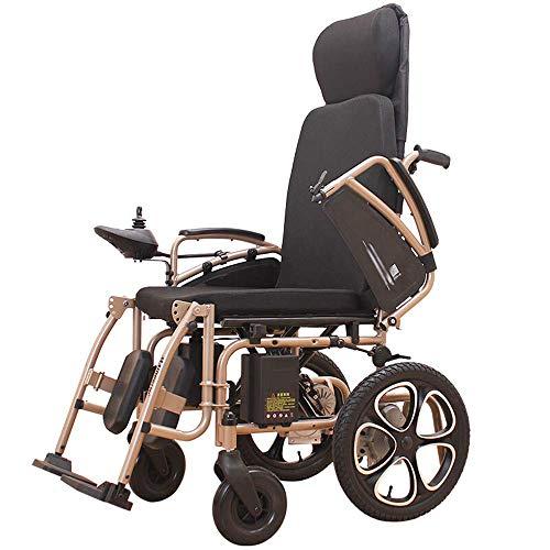 Silla eléctrica portátil con reposacabezas, sillas de ruedas livianas plegables eléctricas, ancho del asiento 50 cm, joystick de 360 °, para personas de edad avanzada discapacitadas