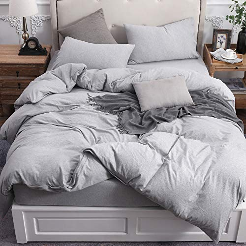 PURE ERA Solid Cotton Ultra Soft Jersey Knit Home Bedding 3 Pieces Duvet Cover Set,1 Comforter Cover and 2 Pillow Shams Grey Queen Size