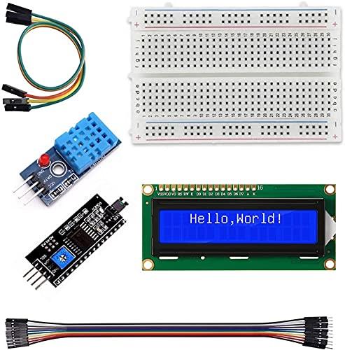 Qootec Estación Meteorológica DIY DHT11 Sensor Temperatura Humedad LCD 1602 I2C Interface Electronic Projects