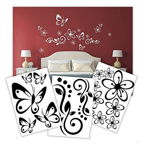 Hibiskus Schmetterling Blüten Ornament SET I - Wandaufkleber Wall Sticker