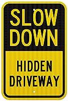 安全標識-隠された私道を遅くします。インチ金属錫サインUV保護および耐候性、通知警告サイン