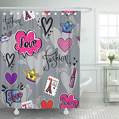 Abaysto Abstract for Girl Teenagers with Lipstick Patch Badges Paris Eiffel Tower Home Decor Shower Curtain Sets with Hooks Polyester Fabric Great Gift