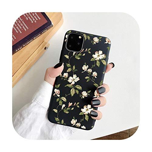 Funda de teléfono floral de moda para iPhone 11 Pro Max 12 Mini 7 8 Plus 6 S XS Max X XR 12Pro SE 2020 Color caramelo suave TPU contraportada T7-Para iPhone X