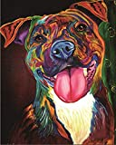 Paint by Numbers Kits with Brushes and Acrylic Pigment DIY Canvas Painting for Adults Beginner -Color Dog