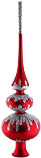 HolidayGiftShops Grace Red Glass Christmas Tree Topper