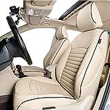 Easeadd Fundas De Asiento De Coche A Medida para Compatible con Volkswagen Golf SW 2013-2018 Confortline (Business)-Cuero(Beige)
