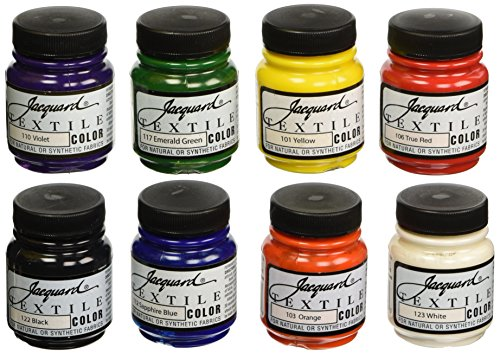 Jacquard Non-Toxic Professional Quality Artists Textile Paint Set, 2.25 oz Jar, Assorted Color, Set of 8 - 458246