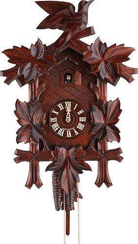 Tedesco Orologio a cucù scolpito durata della carica 1 giorno di 45 cm - Authentic nera orologio a cucù della foresta di Hekas