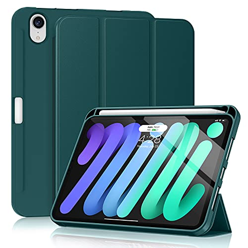 Soke iPad Mini 6 Case 2021 6th Generation with Pencil Holder-[Shockproof Protection + 2nd Gen Apple Pencil Charge + Auto Sleep Wake], Soft TPU Back Cover for iPad Mini 6th Gen 8.3 inch (Teal)