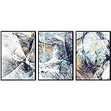 Pintura en lienzo Carteles e impresiones geométricos modernos Abstracción Patrón de remolino Imágenes artísticas de pared para decoración de sala de estar (50X70cm) 3 piezas Sin marco