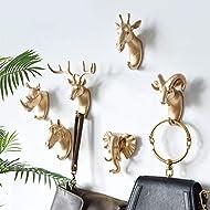Animal Head Wall Decor,Animal Coat Hooks for Wall,Non-Marking Hook,A Set Includes Six Animals: Deer, Horse, Elephant, Sheep, Giraffe, Rhino (Golden)