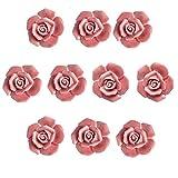 eoocvt 10pcs Ceramic Vintage Floral Rose Flower Door Knobs Handle Drawer Kitchen + Screws (Pink)