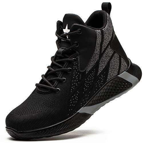 PAQOZKC Hiver Chaussures de Sécurité Hommes Femme Légère Montante Chaussures de Travail avec Embout de Protection en Acier Anti-Perforation Bottes de Sécurité Baskets Chantier(8081/black/43)