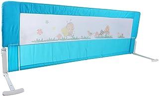Barrera Cama Plegable barandilla Cama barandilla para niños, 1,8 m Barrera de Seguridad/protección extraíble Barrera de Seguridad portátil Cama protección Universal, 180 x 64 cm, Azul