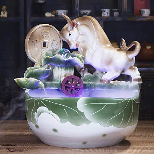 QULONG Fuente Interior Lucky Ceramic Fuente de Escritorio Rueda de Feng Shui Niebla de Agua Cerámica Vaca Fuente Decorativa Humidificador Pecera Animal Creativo Sala de Estar Decoraciones Artesanal