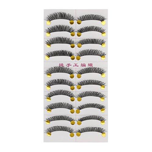 M14 À La Main Faux Cils Janpanese Style Pur Manuel Long Mince Épais 10 Paires Outil De Beauté Populaire Pour Le Maquillage Des Femmes