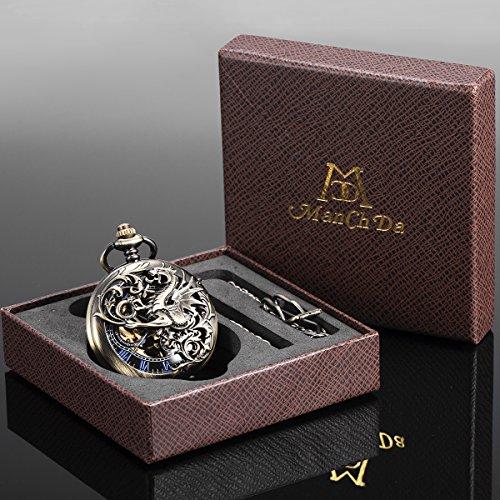 Reloj de Bolsillo - Dream Dragon ManChDa mecánico Skeleton Dial Negro Bronce...