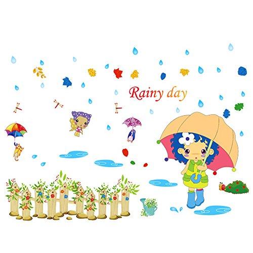 Winhappyhome Rainy Day Fille Mur Art Stickers pour Les Enfants Chambre Fond Salon Nursery Amovibles DéCor Bricolage Stickers