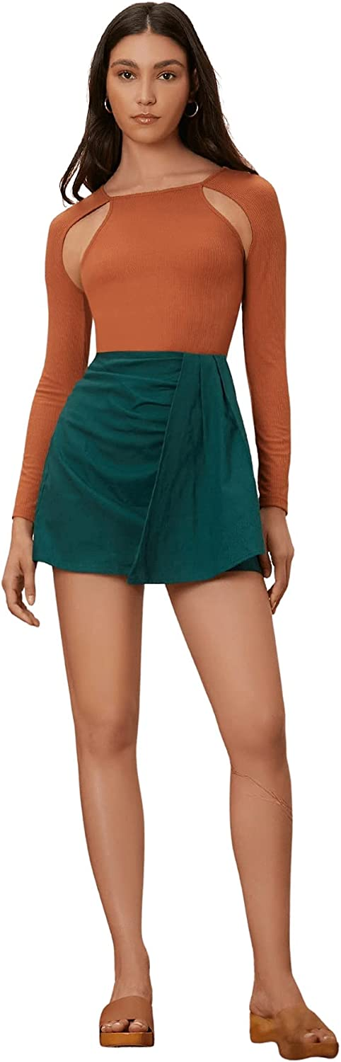 Milumia Women Casual High Waisted A Line Mini Skirt Draped Front Solid Skirt