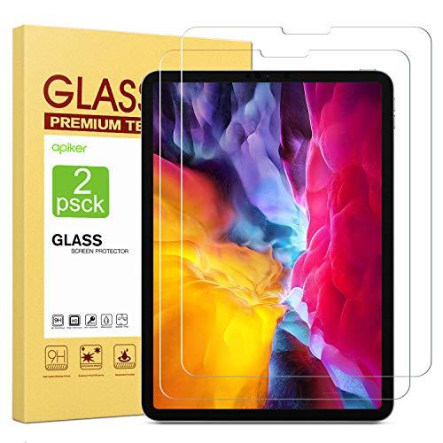 apiker [2 Pack Protector Pantalla Compatible con iPad Pro 11 Pulgadas 2020 2018  iPad Air 4, Cristal Templado para iPad Pro 11 Pulgadas 2020 2018 iPad Air 4 [9H Dureza] [Alta Definicion 0.3mm]