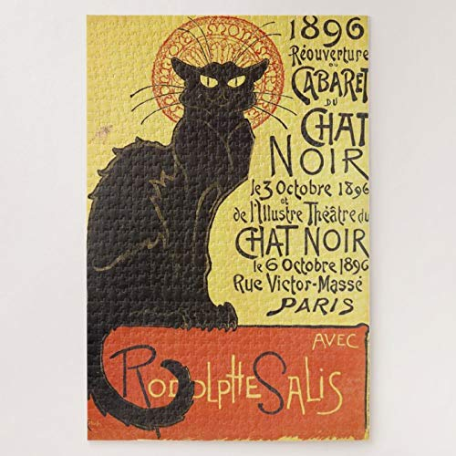 Jigsaw Puzzles 1000 Pieces For Adults Large Piece Puzzle Chat Noir Steinlen Belle Epoque Vintage Art Wooden Intellectual Jigsaw Puzzle Fun Challenging Family Activity Game Toys Gift Wall Decoration