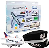 Daron American Airlines Deluxe Gift Set with Airport Playset, Pilot's Hat & Pullback Plane - 3 Pack