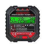 Comprobador de enchufe Kecheer GFCI con indicador de tensión de 90 – 250 V – Comprobador de enchufe automático de circuito eléctrico, detector de tensión polaridad Breaker Finder HT107D
