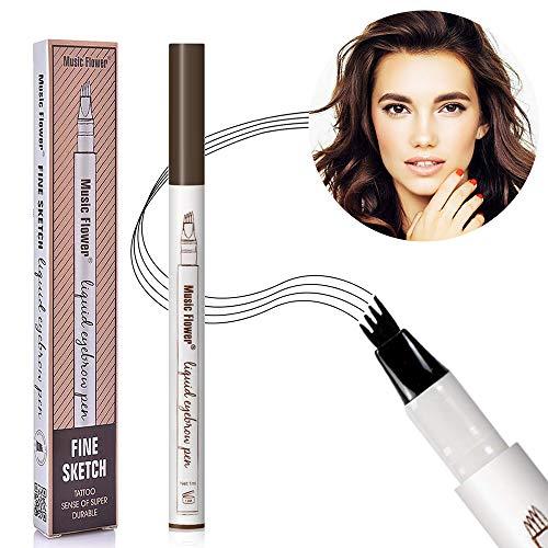 Augenbrauenstift Wasserfest,Waterproof Microblading Eyebrow Pen mit Tips Wasserfester Langenhaltend für Natürlich Augenbrauen Schminke,Augenbrauenstift(kastanienbraun)
