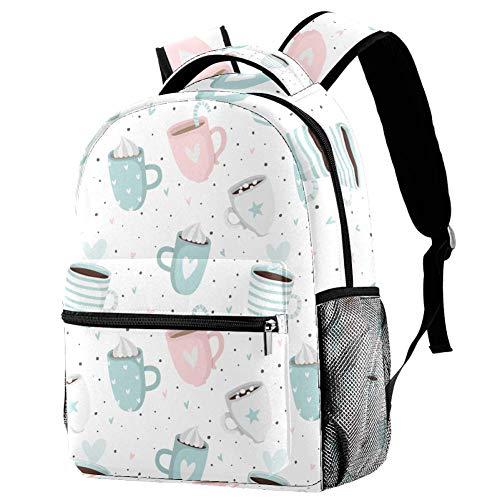 Tagesrucksack für Reise Blaue Tasse Kaffee ergonomischer Wasserdichter Schulrucksack Persönlichkeit Organisationstalent Rucksack für Mädchen Teenager Jungen 29.4x20x40cm