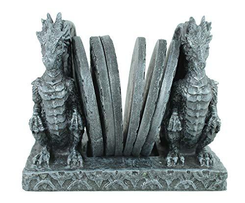 colourliving Drachen Figuren Gothic mit 6 Untersetzer für Gläser Glasuntersetzer mit Drachenfiguren