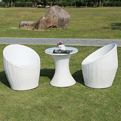 Set di Mobili da Giardino per Esterni, 3 Pezzi di Sedia in Vimini E Tavolino in Vetro Set di Conversazioni Set di Mobili Combinati in Rattan per Giardino Domestico per Tutte Le Stagioni,Bianca