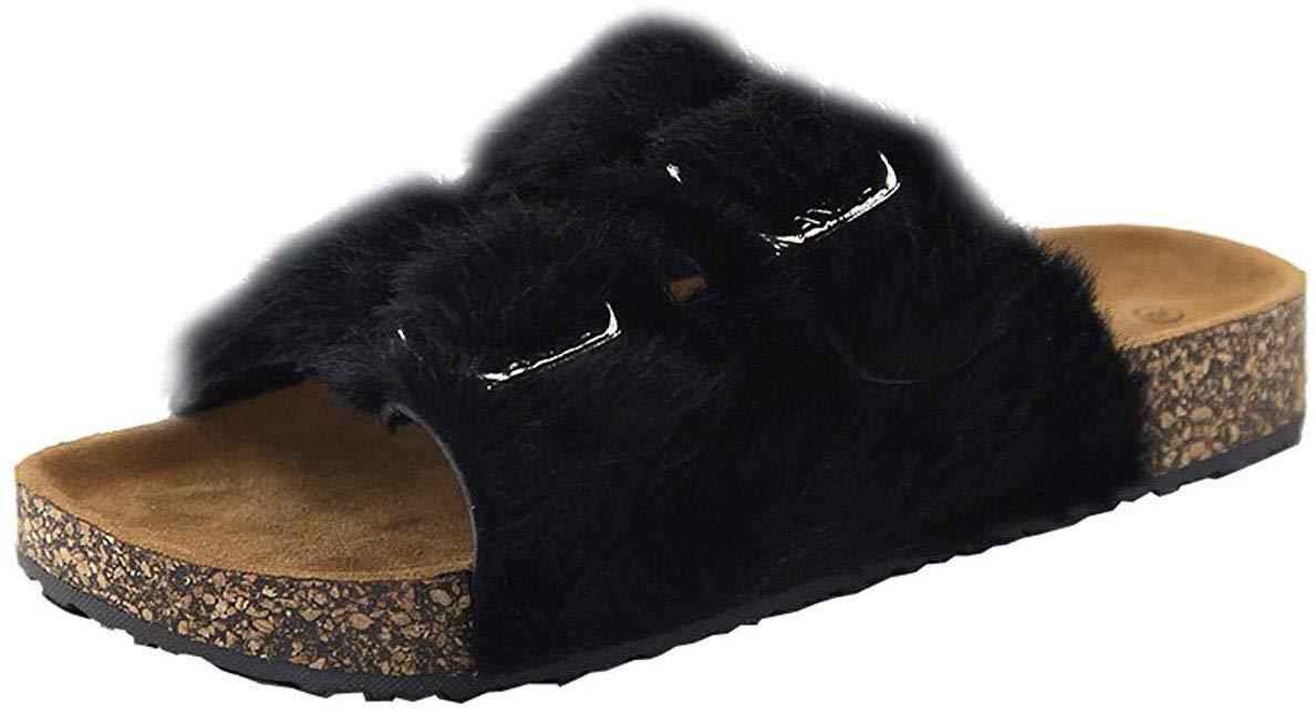 Cambridge Select 女士露趾搭扣双带一脚蹬平底凉鞋