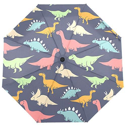 BDDLLM Regenschirm Neuer vollautomatischer dreifach Faltbarer Dinosaurier-Regenschirm bedrucktes Kinderauto zum Öffnen und Schließen des winddichten Regenschirms China Dinosaurier-Regenschirm