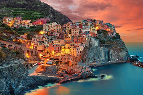 Cinque Terre Manarola Italy Cliff Homes Landscape Photo Art Print Cool Huge Large Giant Poster Art 54x36