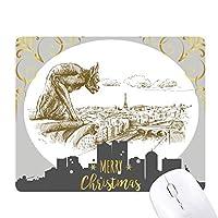 モンスタースケッチ風景地方都市のランドマークイラストパターン クリスマスイブのゴムマウスパッド