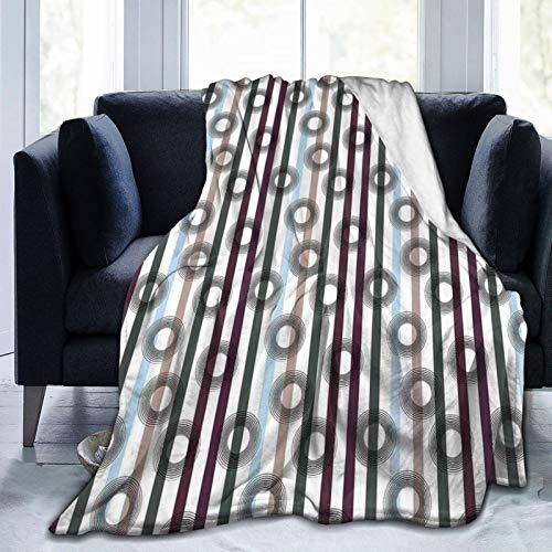 Manta mullida, patrón geométrico de rayas verticales con muchos colores y círculos en forma de diana, ultra suave, manta para dormitorio, cama, TV, manta de cama de 80 x 60 pulgadas