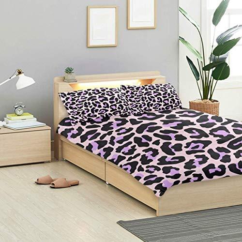 Juego de funda nórdica de leopardo Patrón de textura de piel de leopardo Diseño exótico Ropa de cama Decoración 3 juegos de piezas 1 Fundas nórdicas con 2 fundas de almohada Juego de cama de microfibr