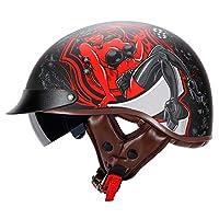 サンバイザー付きハーフモーターサイクルヘルメットレトロヴィンテージスタイル、通気性モーターサイクルヘルメット軽量デザインバイククラッシュヘルメットセーフティキャップモーターヘルメット E,XL