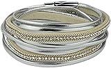 Feelinko Armband im Metallic-Leder-Design Armkettchen Armband Wickelarmband Armreif Damen Women Silber