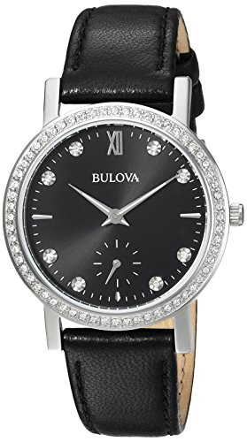 Bulova Women's 96L246 Swarovski Crystal  Black Strap Watch