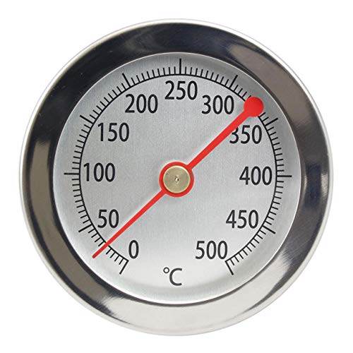 Lantelme 500 °C Grill Thermometer 15 cm sonde clip roestvrij staal oven pizzaoven houtoven analoog bimetaal 4895